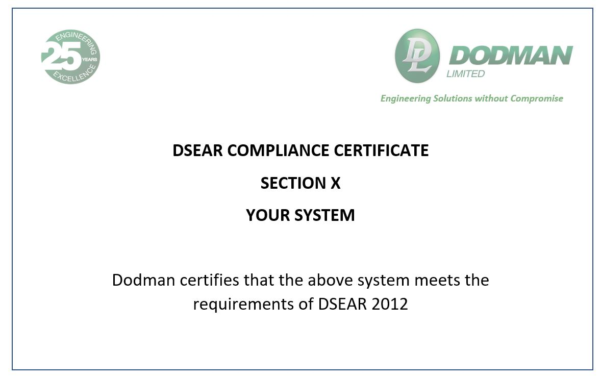 DSEAR Certificate of Compliance